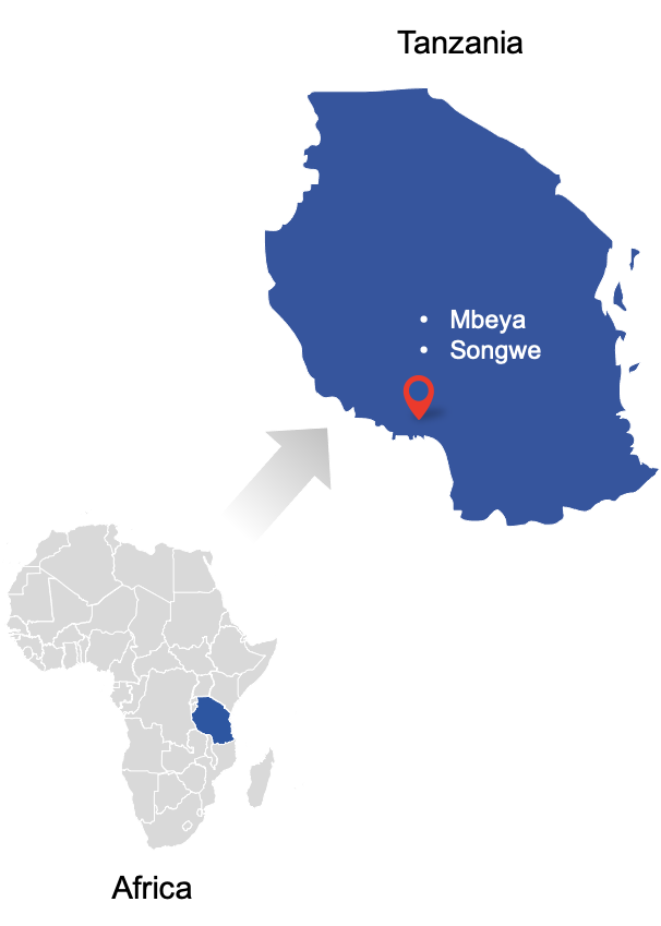 Map of Africa and Tanzania